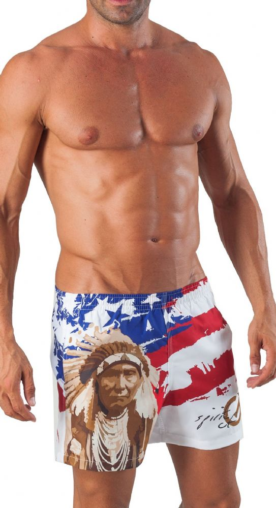 Men's Luxury Swimming Shorts White American Style Geronimo 1532p1